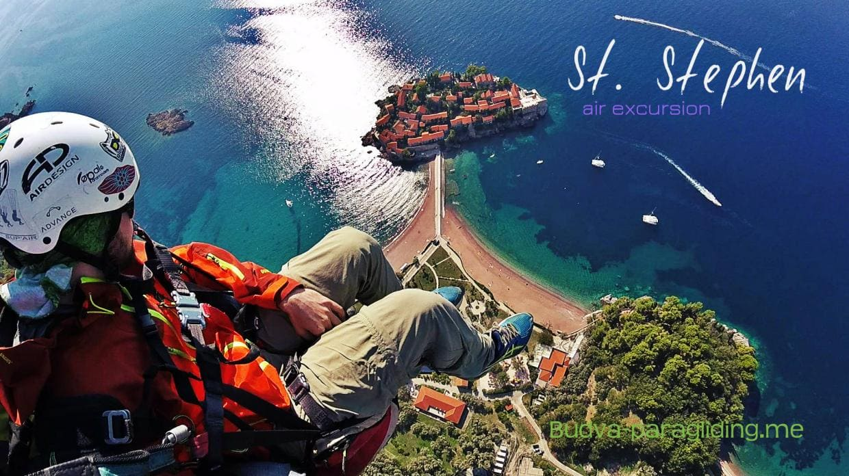 Saint Stephen Budva Paragliding air excursion Book NOW!