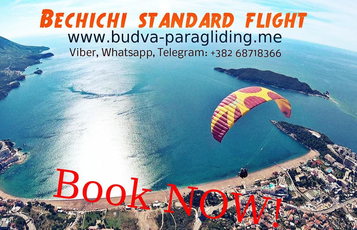 Standard flight Becici Budva Paragliding Montenegro BOOK NOW!